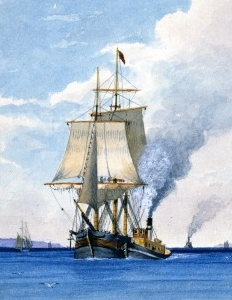 painting of the sailing ship Saranak being towed into port by a steamboat
