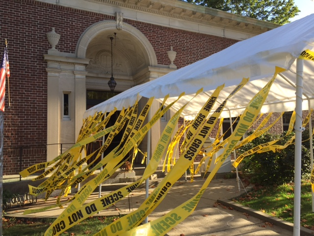 The eye-catching entrance to the Jesup Library. In addition to the crime scene tape, there were chalked outlines of dead bodies on the sidewalk out front.