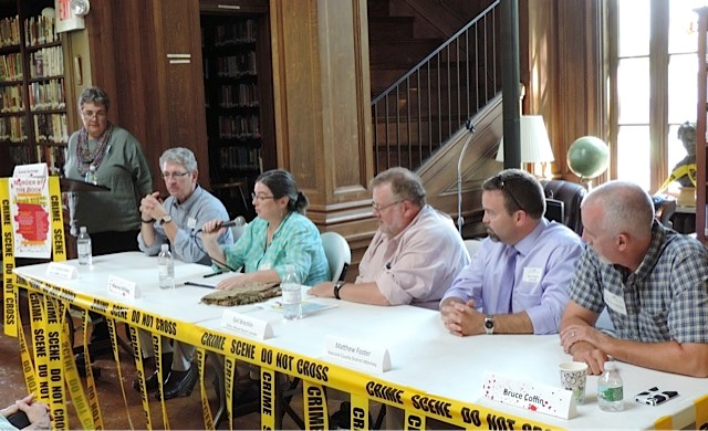 The Real World vs. The Page panel: Maine Superior Court Justice William Stokes, journalists Maureen Milliken and Earl Brechlin, Hancock County District Attorney Matthew Foster and retired Portland Det. Sgt. Bruce Coffin
