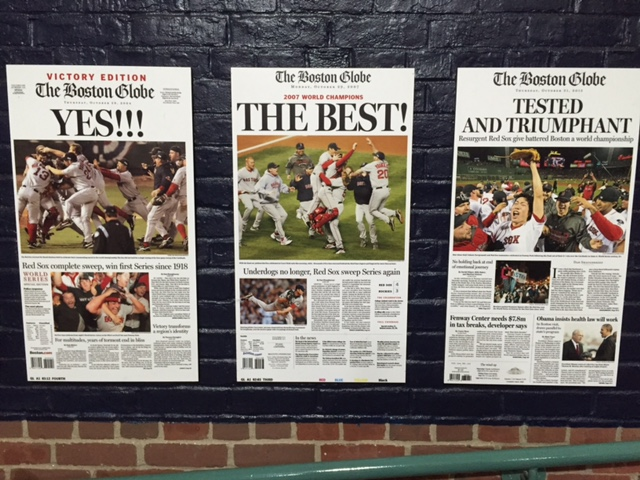 The front page from the Boston Globe for the Sox three World Series championship wins--2004, 2007 and 2013. A thrill every time.