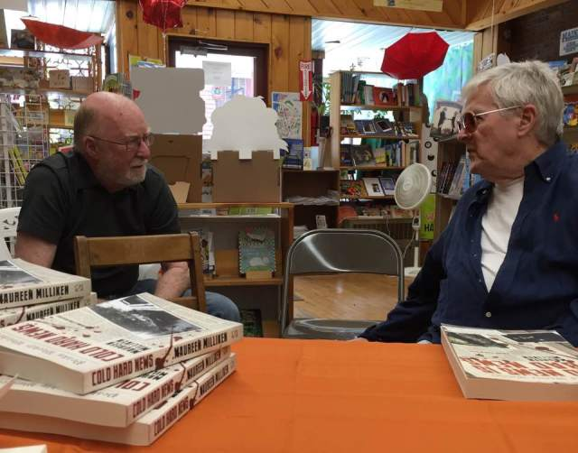 Fortunately I didn't have to do all the talking at my July 23 signing at The Children's Book Cellar in Waterville. My dad, left, and Waterville writer and former actor JP Devine kept things lively.