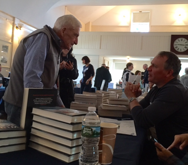 "Here's something you don't see every day -- unless you're at Books in Boothbay. Donn Fendler of ""Lost on a Mountain in Maine"" fame talking to fellow crime writer Paul Doiron, who's latest ""Widowmaker"" sold like hotcakes. I know because I sat next to him and watched them go."