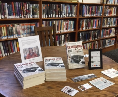 "My own nook at the Guilford Library local authors event! This was right before ""No News is Bad News"" came out, but ""Cold Hard News"" got a lot of love."