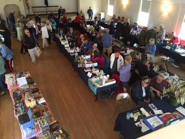 The crowd begins to gather in the Railway Village hall as Books in Boothbay gets underway July 9.