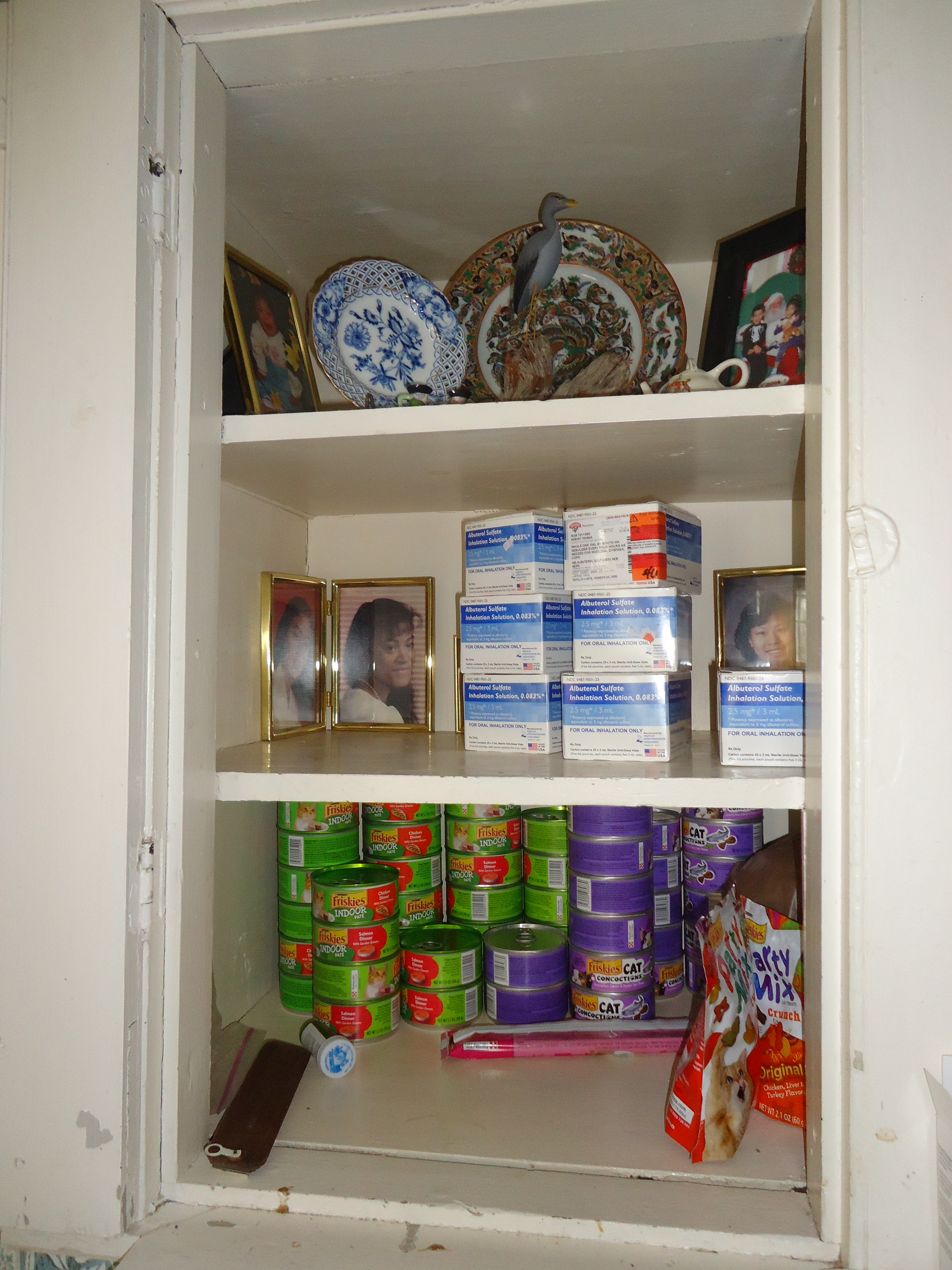 Close Up Of Another Chimney Closet Holding Medications, Plates U2014 And Cat  Food!
